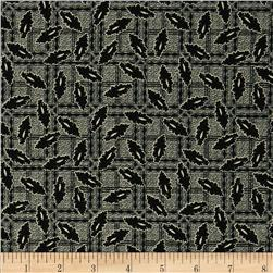 Mourning Grays Leaves on Plaid Black