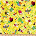 Timeless Treasures Flannel Bugtopia Tossed Bugs Yellow