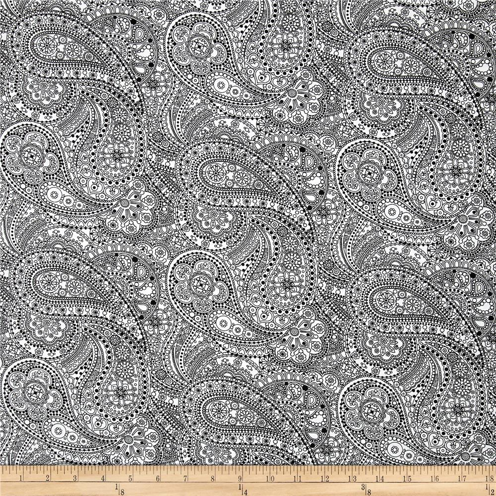 108 wide quilt back chelsea dot paisley white black for Quilting material
