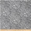 "108"" Wide Quilt Back Chelsea Dot Paisley White/Black"