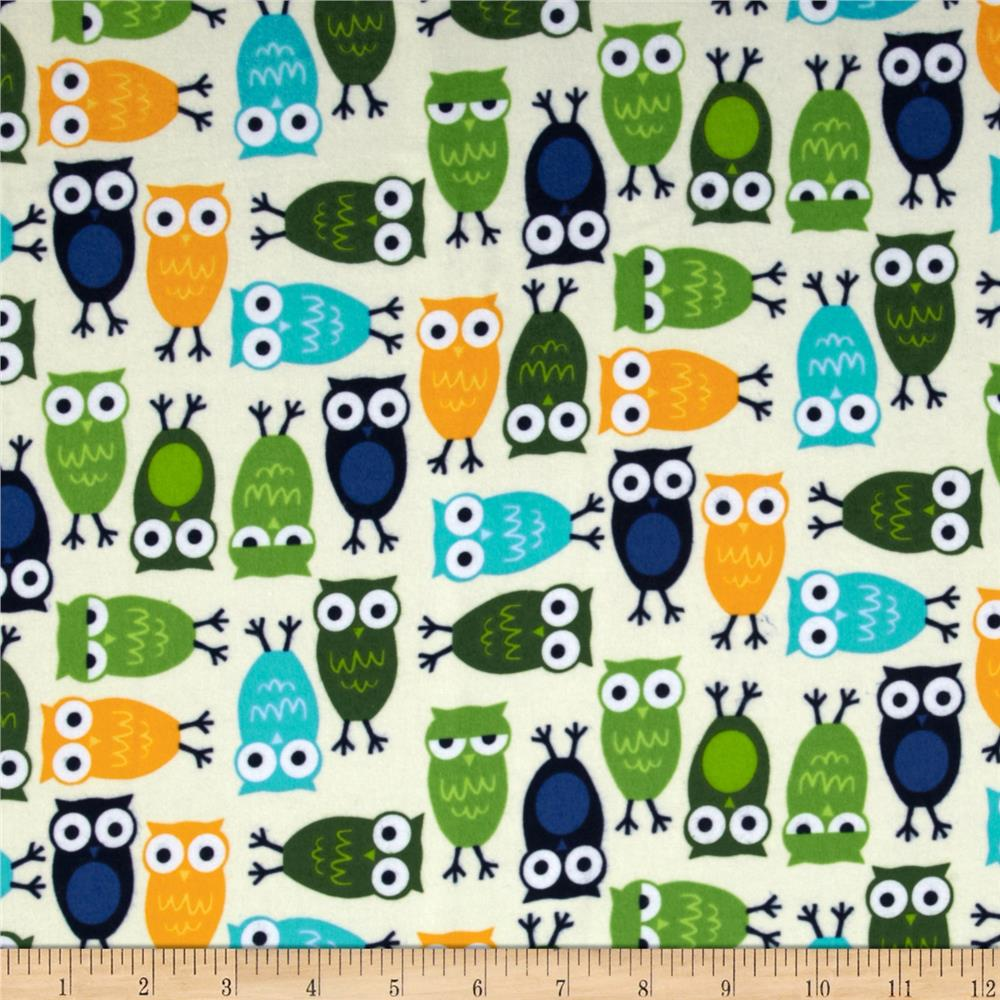 Urban Zoologie Flannel Owls Marine Fabric By The Yard