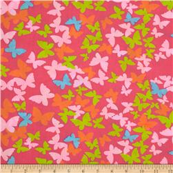 Butterfly Cotton Poly Broadcloth Fuchsia