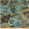 Contempo Hand Made Faux Linen Sun Circles Dark Turquoise/Brown