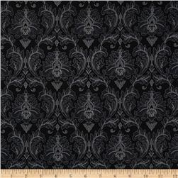 Black, White & Currant 5 Damask Black