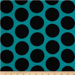 Soft Jersey Knit Polka Dot Black/Jade