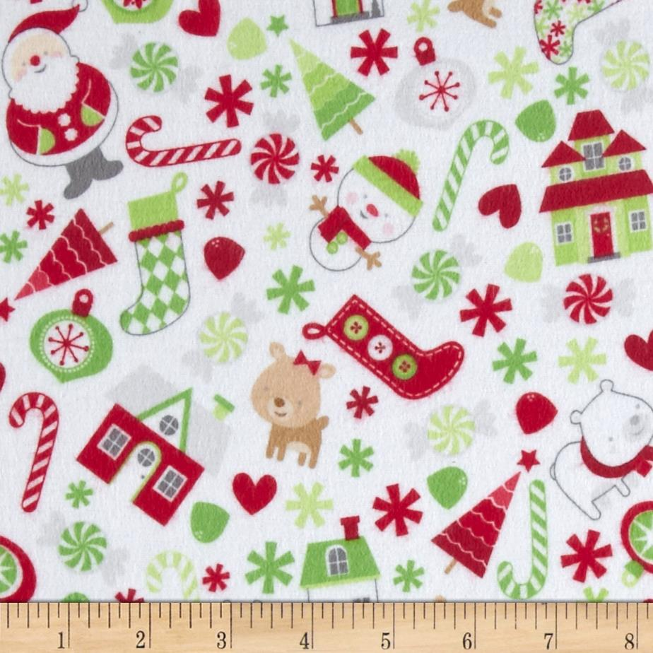 Riley Blake Home for the Holiday's Flannel Main White