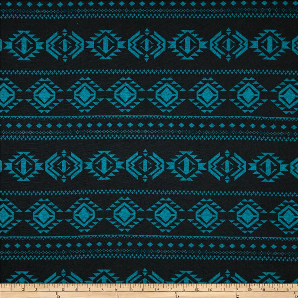 Sweater Knit Aztec Black/Teal