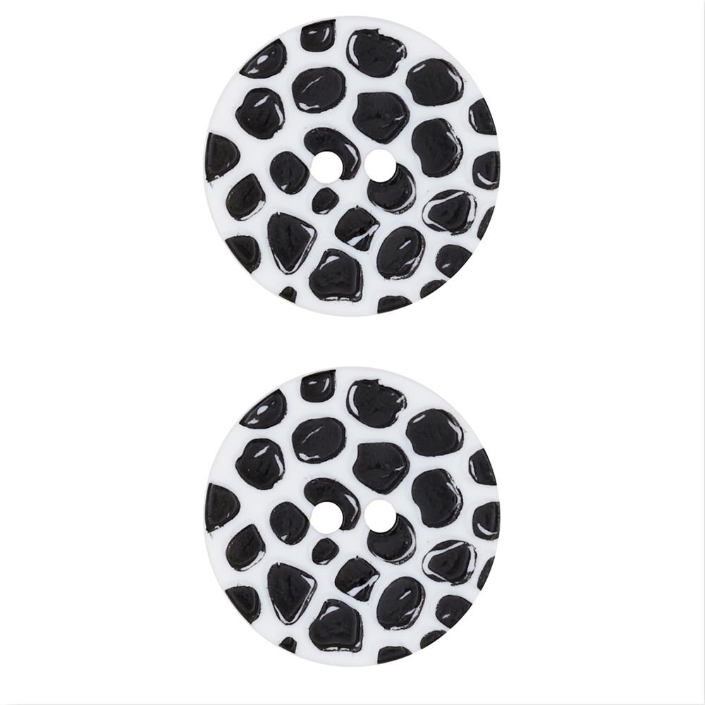 "Dill Novelty Button 1 1/8"" Black Raised Dot on White"
