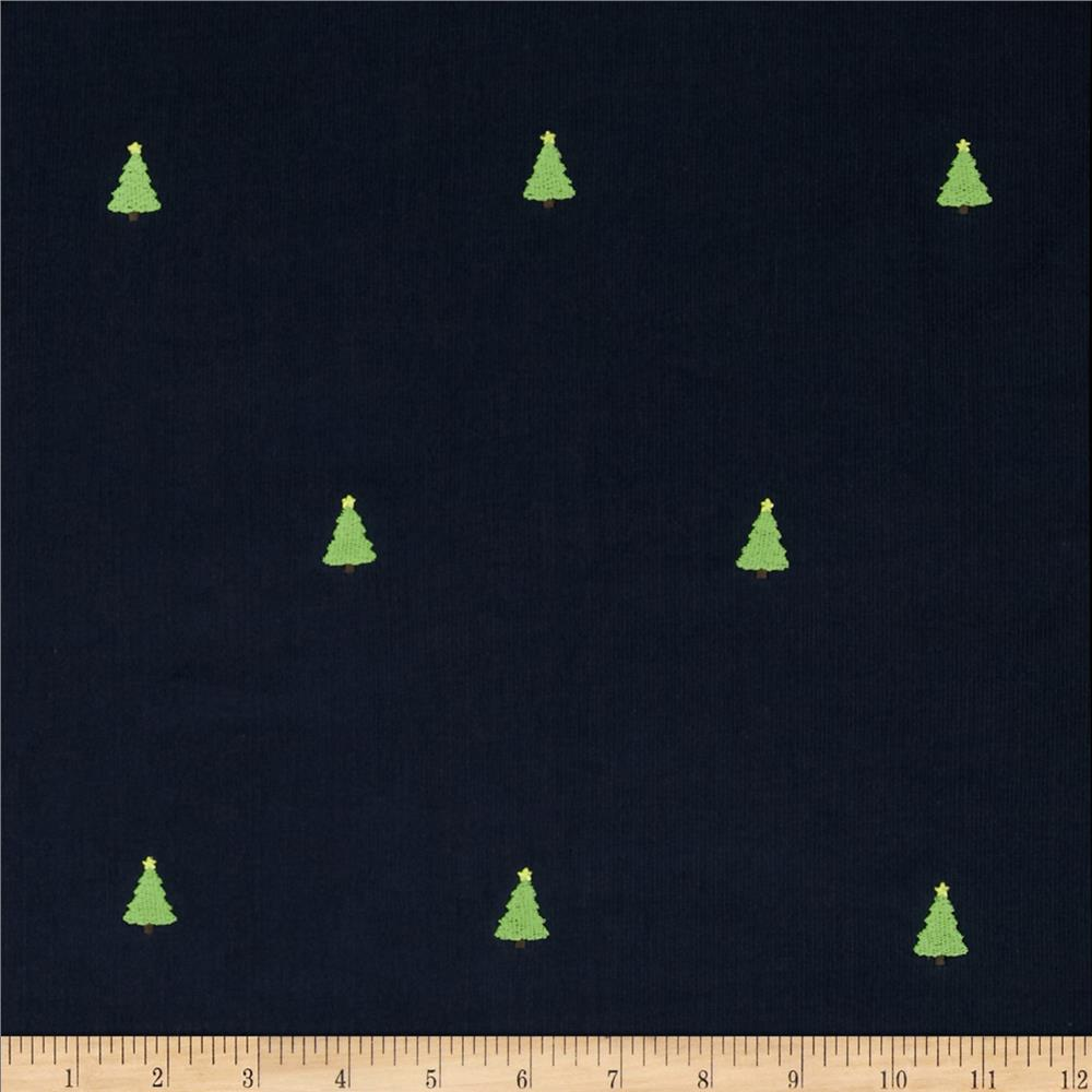 Embroidered 21 Wale Corduroy Tree Navy/Green