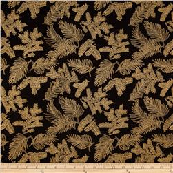 Island Batik Holiday Pine Needles Metallic Black