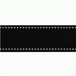 1 1/2'' Grosgrain Ribbon Saddle Stitch Black/White