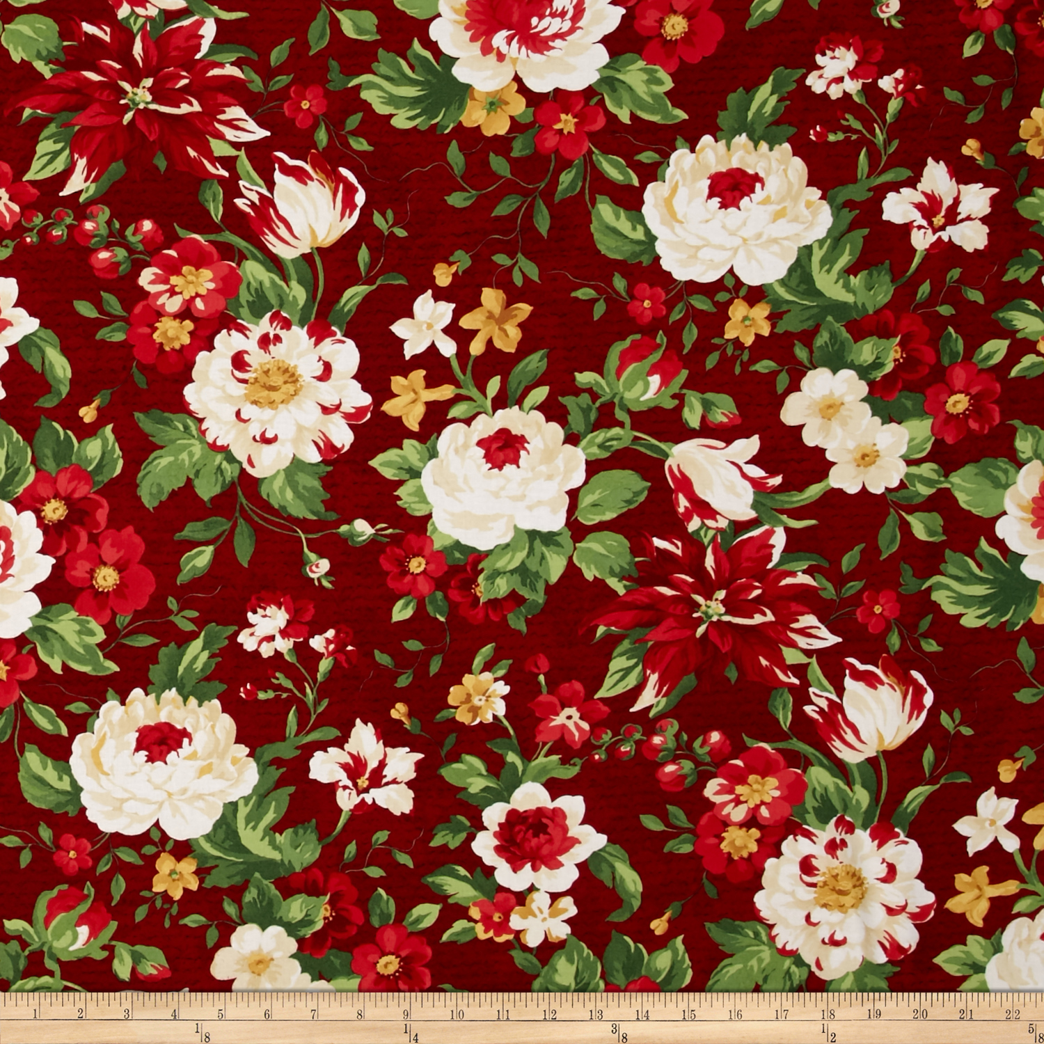 Crimson & Holly Large Floral Red Fabric by MM Fab in USA