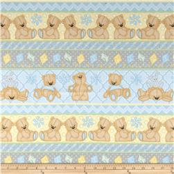 Teddy Time Flannel Teddy Novelty Stripe Blue Fabric