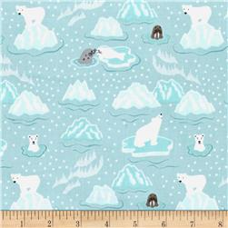 Lewis & Irene Northern Lights Metallic Polar Bears & Seals Grey