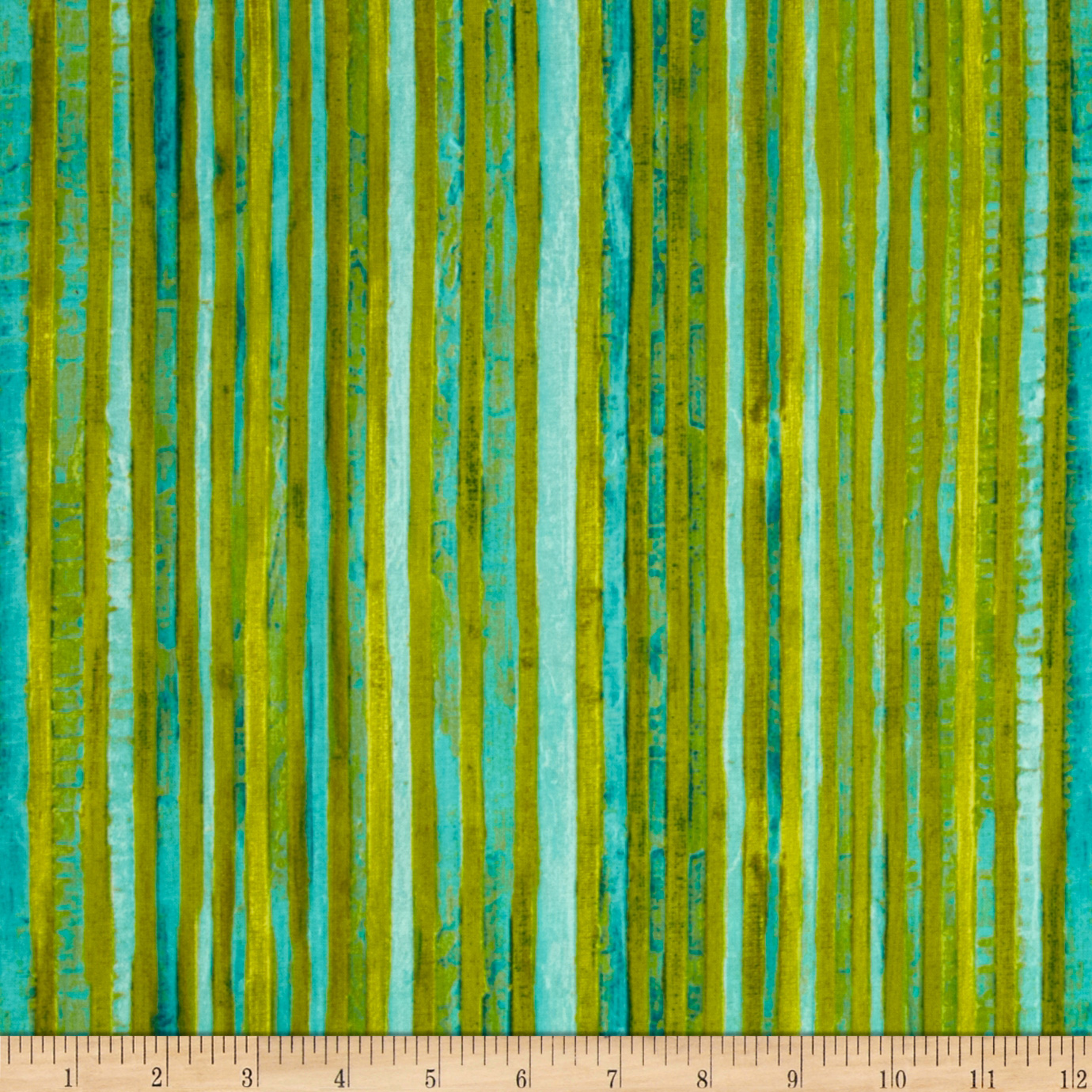 Michael Miller Poppies Skinny Stripe Aqua Fabric