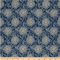 French General Brisbane Floral Blend Indigo Fabric