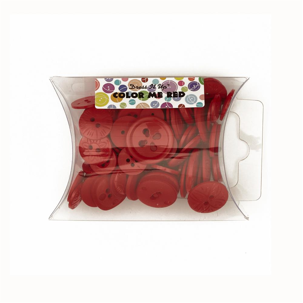 Dress It Up Color Me Collection Pillow Pack Buttons Red