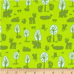 Woodland Park Animal Silhouette Green Fabric