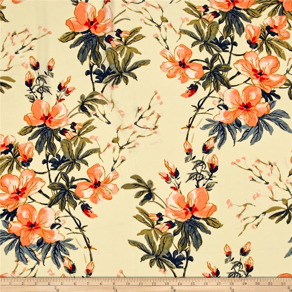 Bubble Crepe Floral Light Sand/Orange