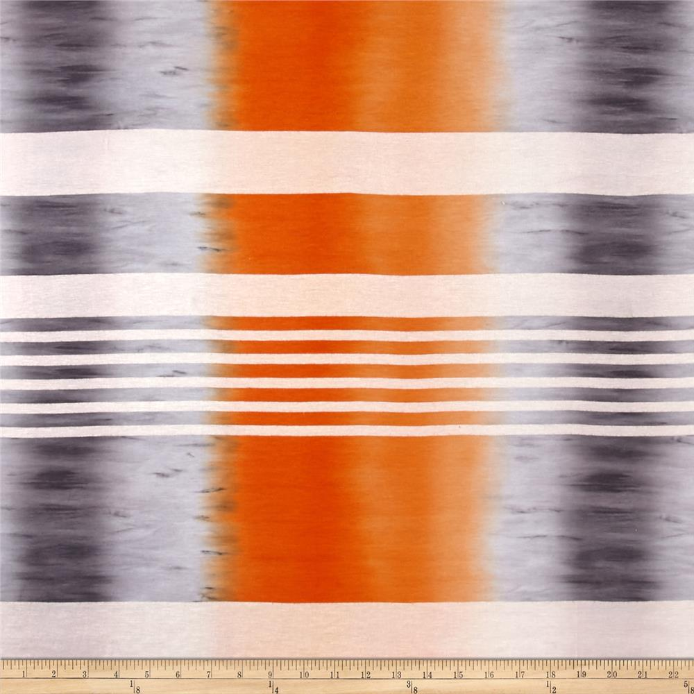 Jersey Knit Ombre Stripe Grey Orange