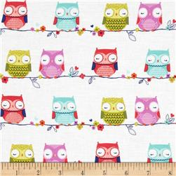 Hootie Tootie Cutie Owls On A Wire White