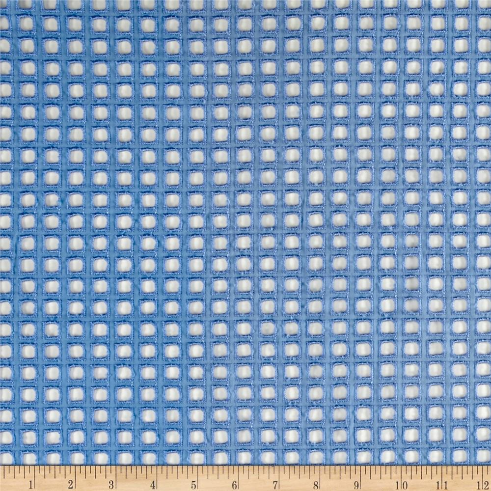 Cotton Eyelet Squares Light Blue