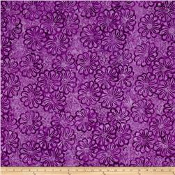 Timeless Treasures Batik Tonga Neon Packed Blooms Purple