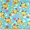 Fleece Print Ducks & Bubbles Turquoise
