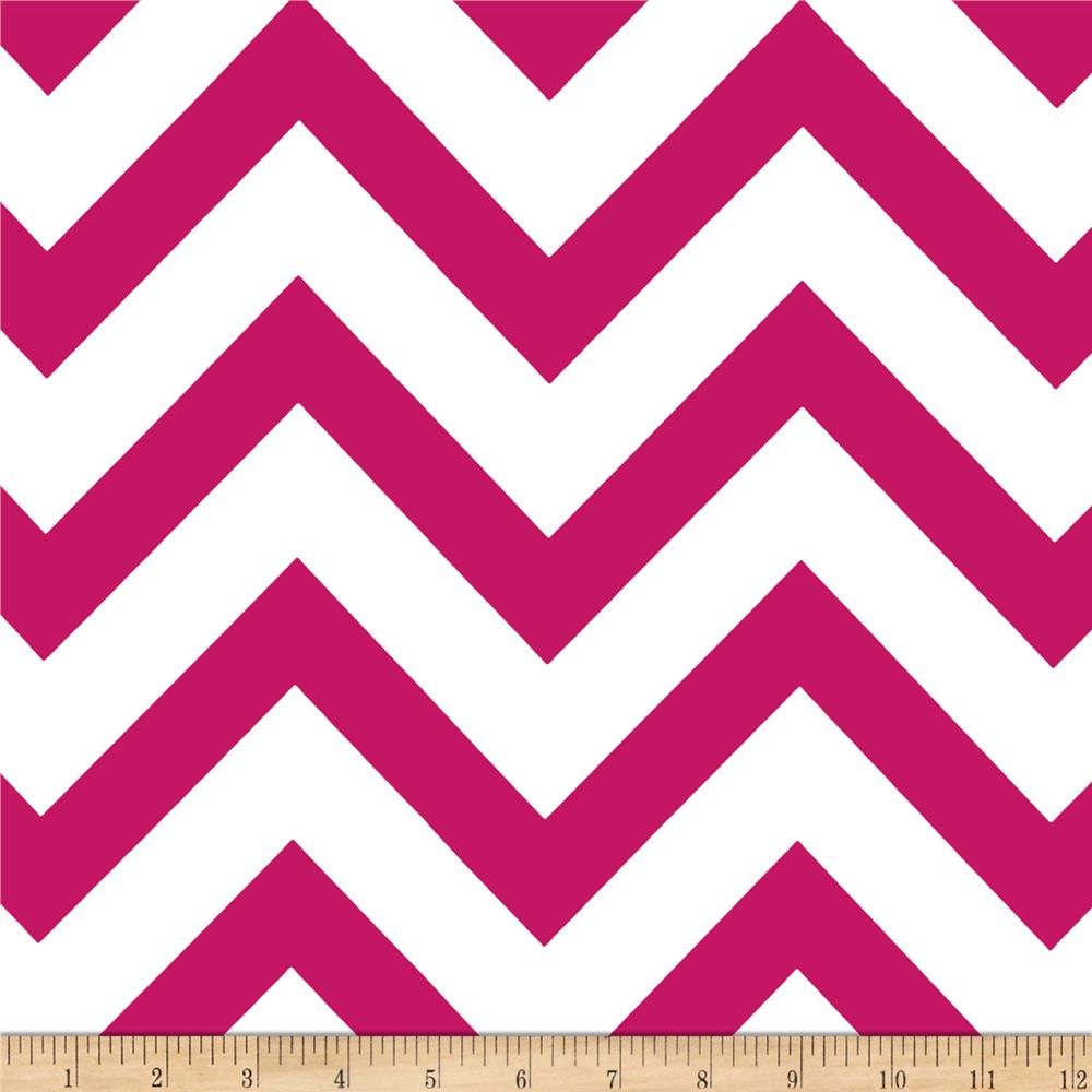 Mi Amor Duchess Satin Chevron Fuchsia/White Fabric