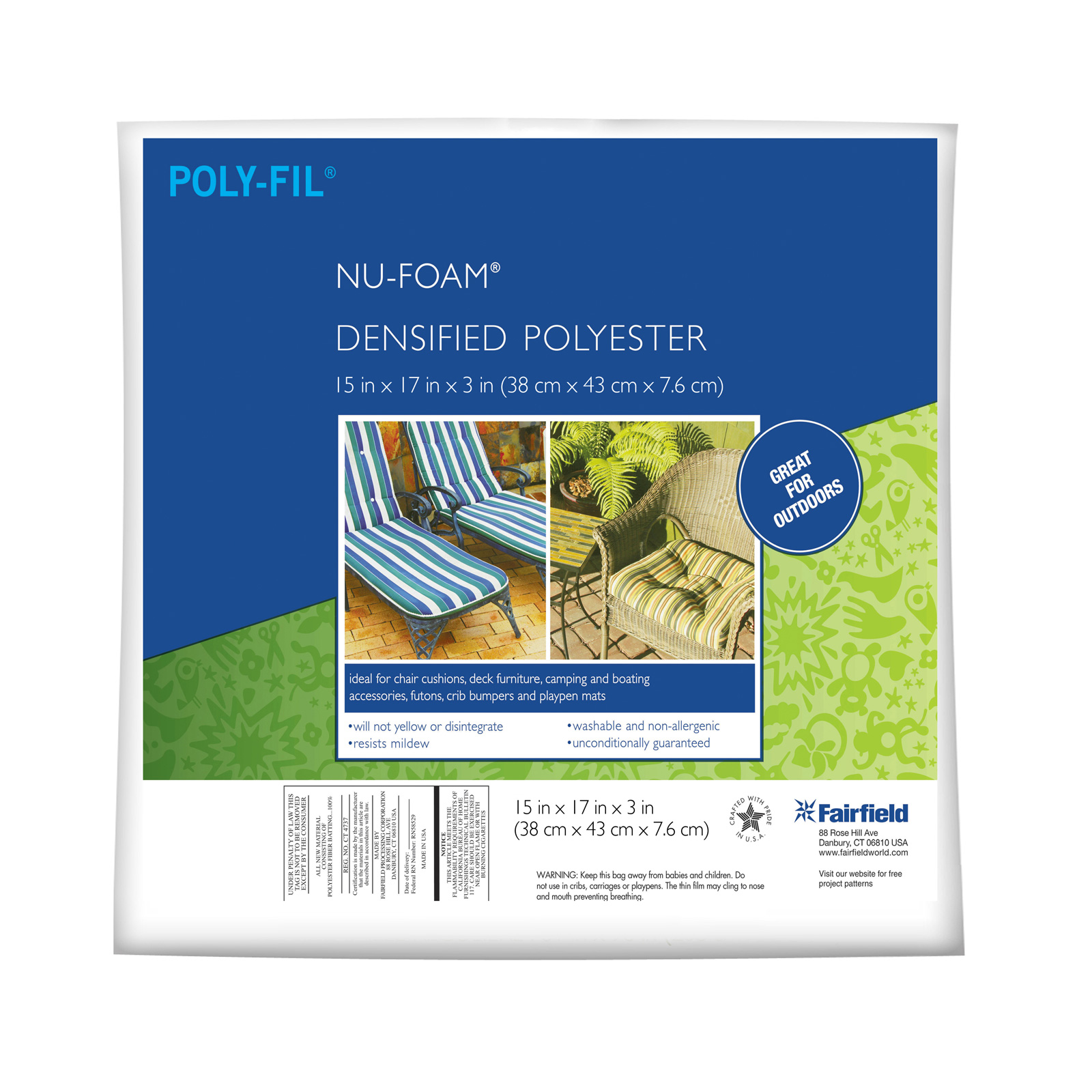 Fairfield Poly-Fil Nu-Foam 15'' x 17'' x 3