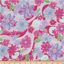 Cotton Candy Flannel Floral Swirl Pink Fabric