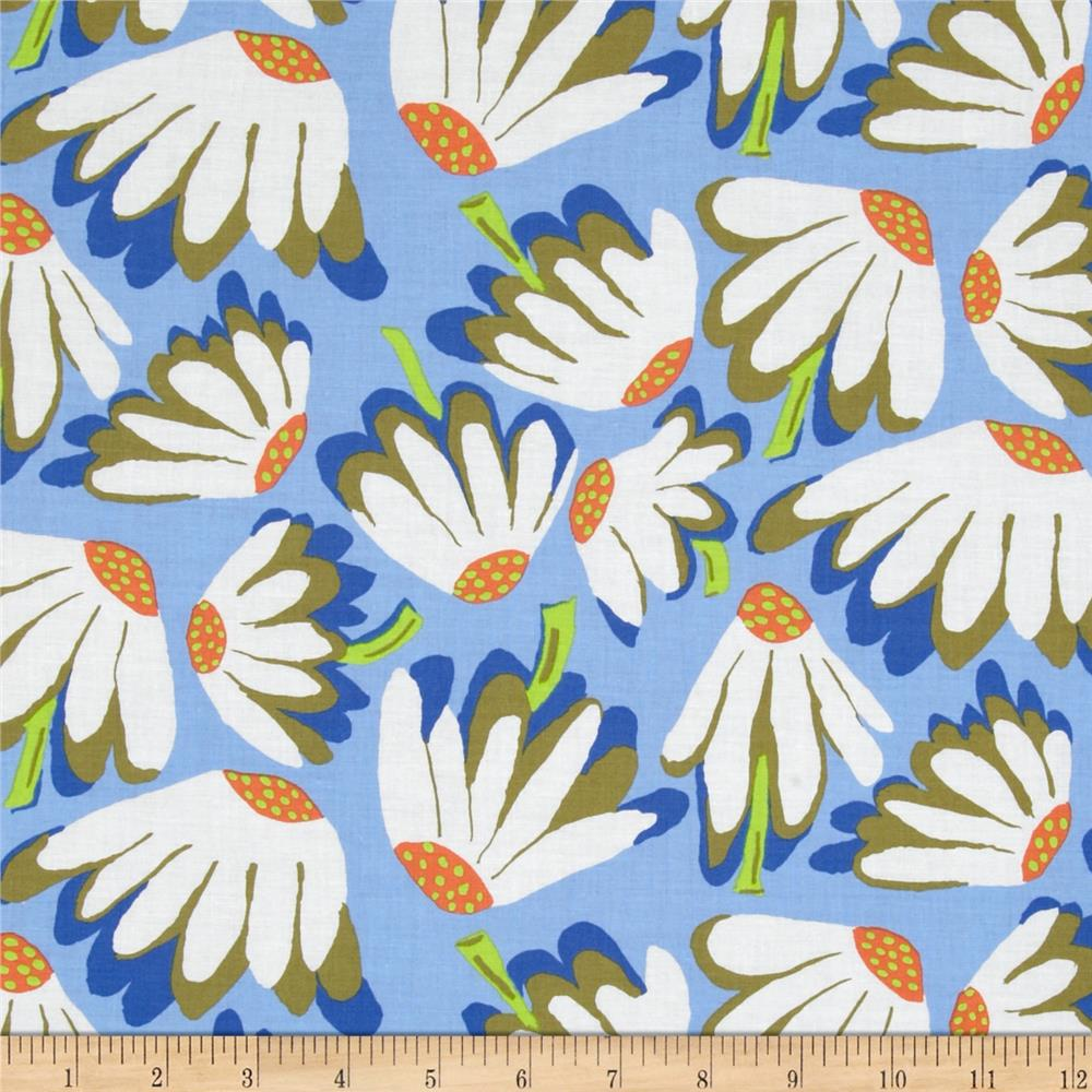 Kaffe Fassett Spring 2014 Collective Water Lazy Daisy Blue Fabric By The Yard