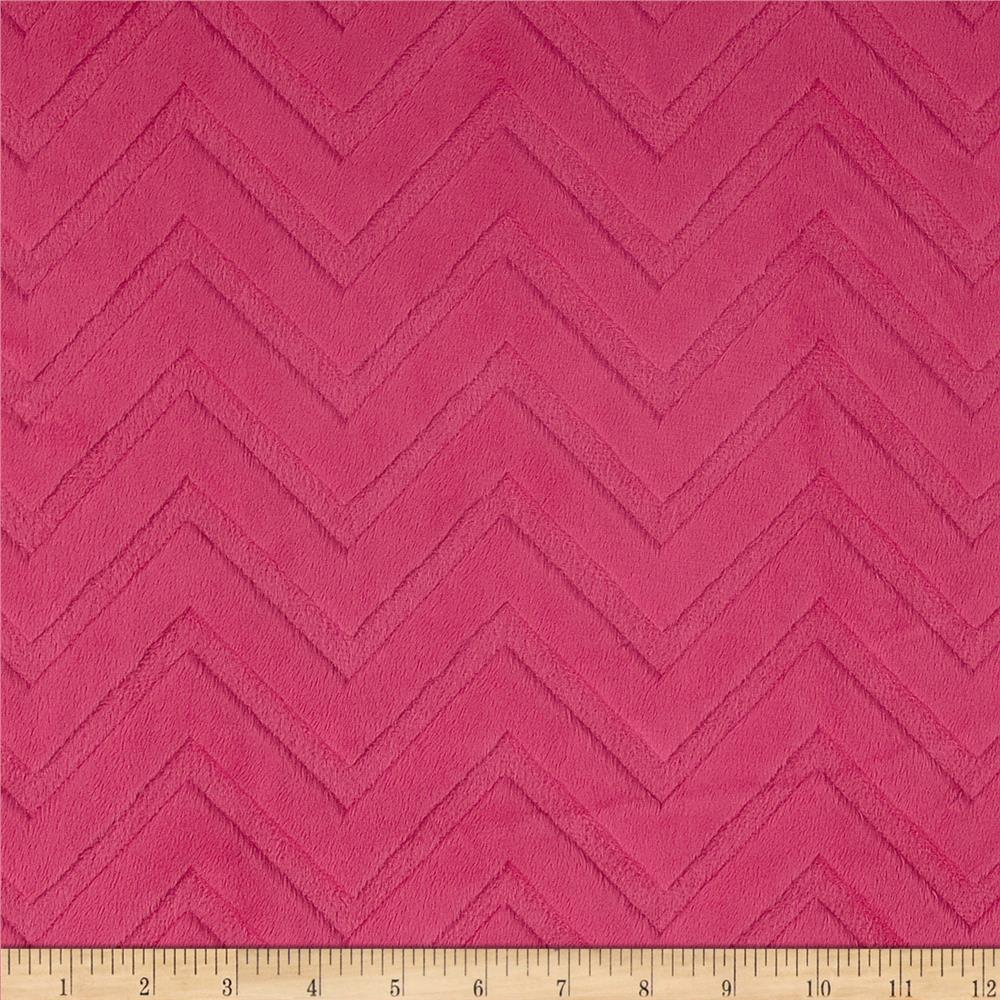 Minky Cuddle Embossed Chevron Fuchsia