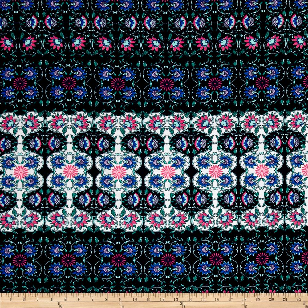 Liverpool Double Knit Abstract Blue Pink Arabesque on Navy