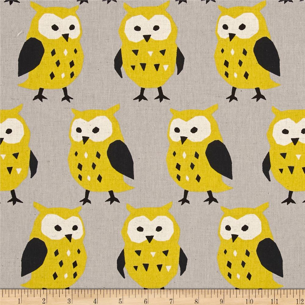 Kokka Trefle Linen Blend Canvas Owls Gray