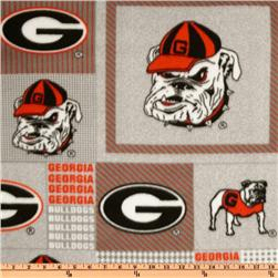 Collegiate Fleece University Of Georgia Plaid Blocks Fabric