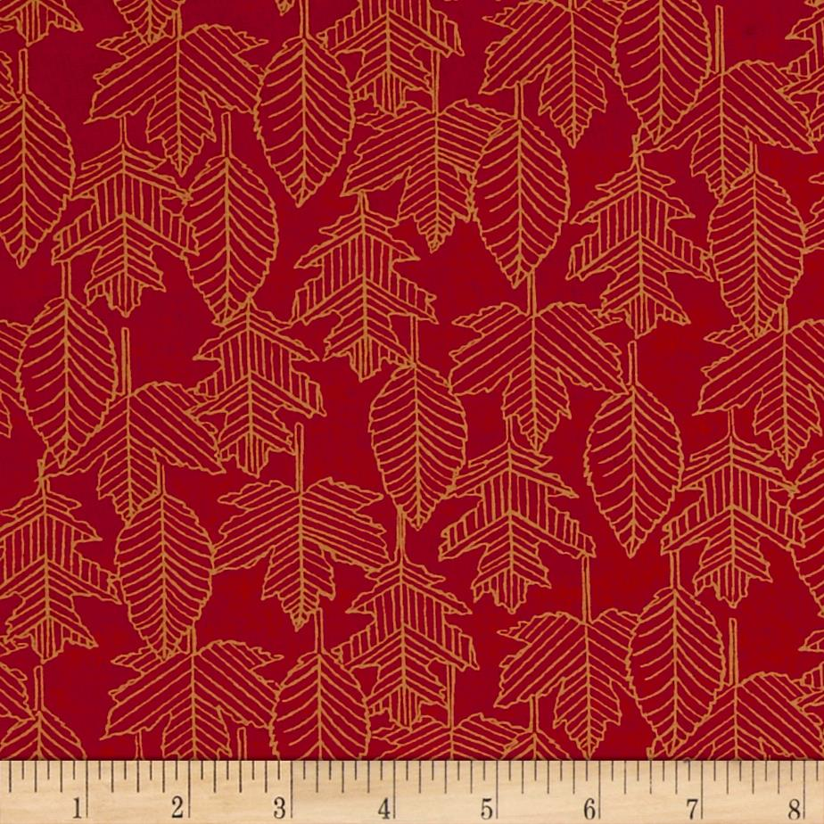 Moda Welcome Fall Leaf Lines Berry Red