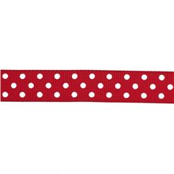 "May Arts 5/8"" Grosgrain Dots Ribbon Spool Red/White"