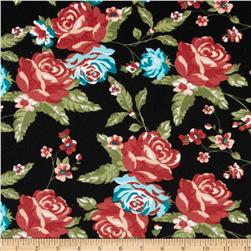 Stretch Ponte de Roma Knit Florals Black/Red/Pink