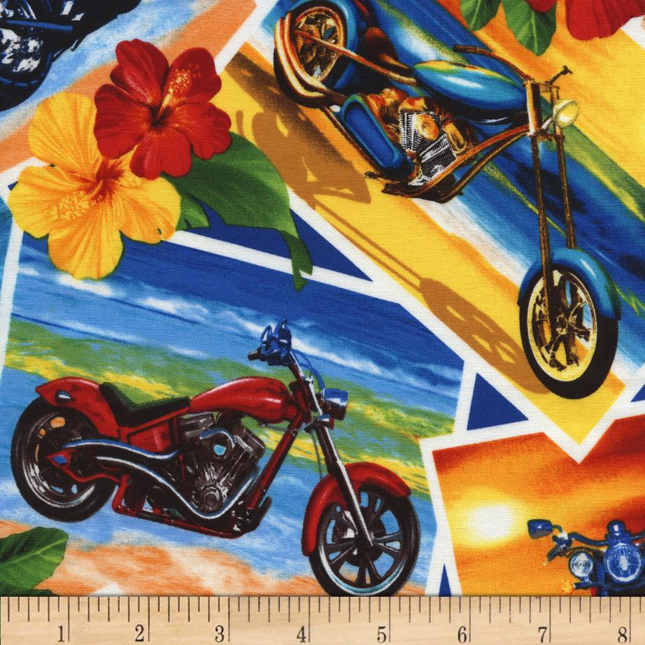 Timeless Treasures Tropical Motorcycles Multi