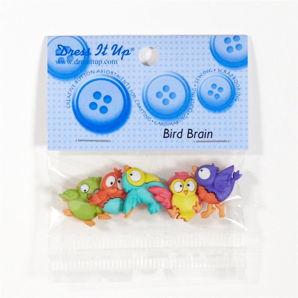 Dress It Up Embellishment Buttons Bird Brain