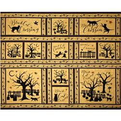 "Black Cat Crossing 24"" Panel Orange"