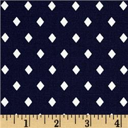 Cotton & Steel Frock Rayon Poplin Navy Diamonds