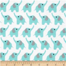 Cloud 9 Organic Fanfare Flannel Elephants Blue