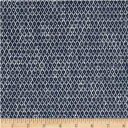 Designer Stretch Basketweave Geo Navy/White
