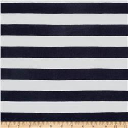 Jersey Knit Navy Medium Stripes on White