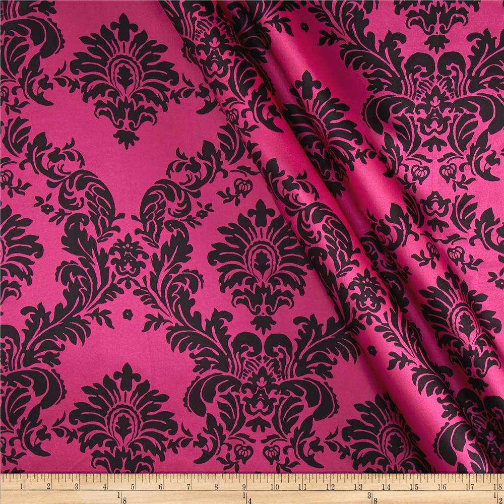 Charmeuse Satin Damask Fuchsia/Black