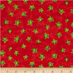 Winter Wonderland Metallic Stars Red