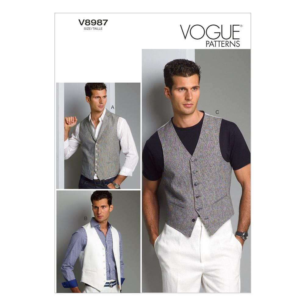 Vogue Men's Vest Pattern V8987 Size MUU