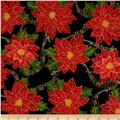 Sounds of the Season Metallic Poinsettias on Musical Notes Black